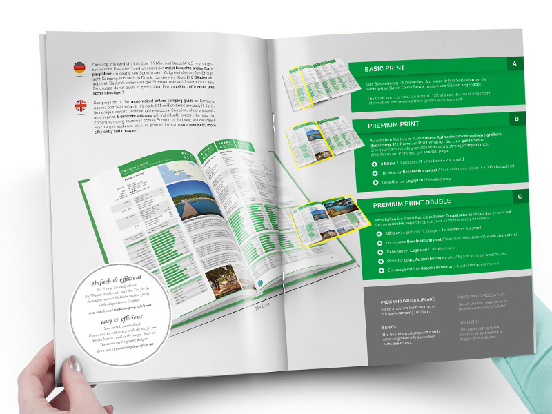 Gestaltung der Verkaufsunterlagen für den gedruckten Campingführer von Camping.Info.