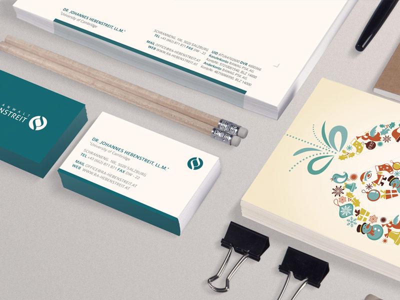 Gestaltung der Drucksorten (Logo, Briefpapier, VCard, Kuvert, Weihnachtskarte, ...) für den Rechtsanwalt Dr. Johannes Hebenstreit aus Salzburg.