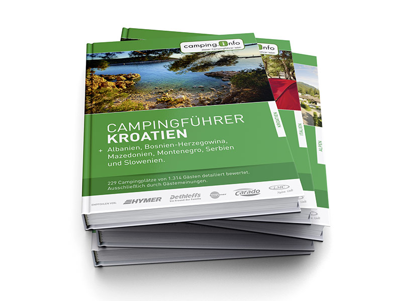 Gestaltung des gedruckten Campingführers (Booklet, Innenteil, Konzeption) von Camping.Info.