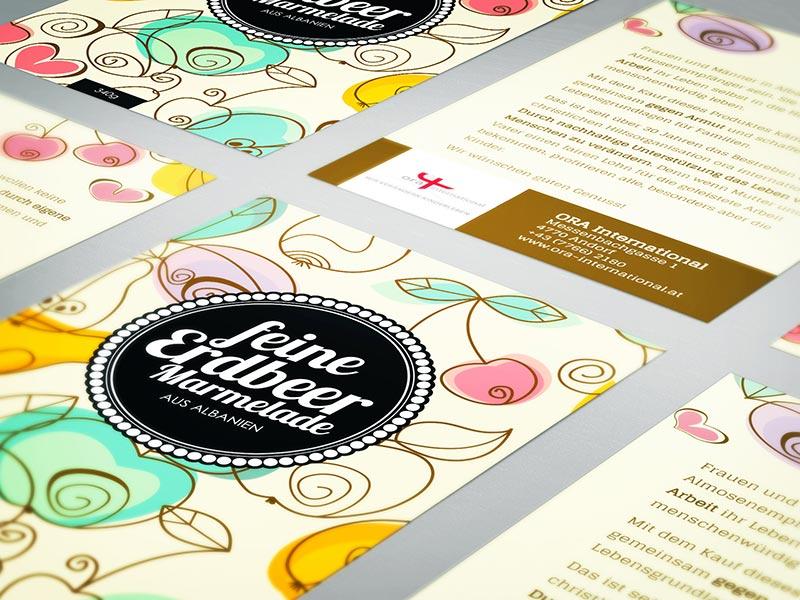 Gestaltung der Marmeladengläser von ORA Österreich.