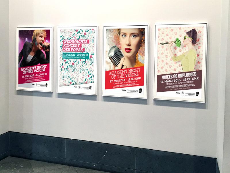 Gestaltung der Plakate der POP AKADEMIE WIEN.