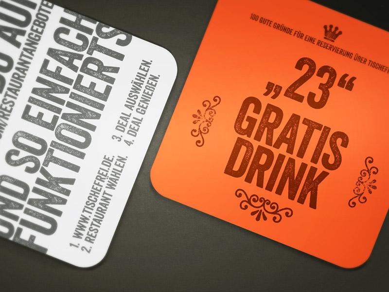 Gestaltung der Bierdeckel-Werbekampagne für tischefrei.de