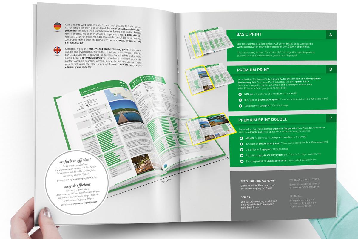 Gestaltung der Verkaufsbroschüre für den neuen Camping.Info-Campingführer