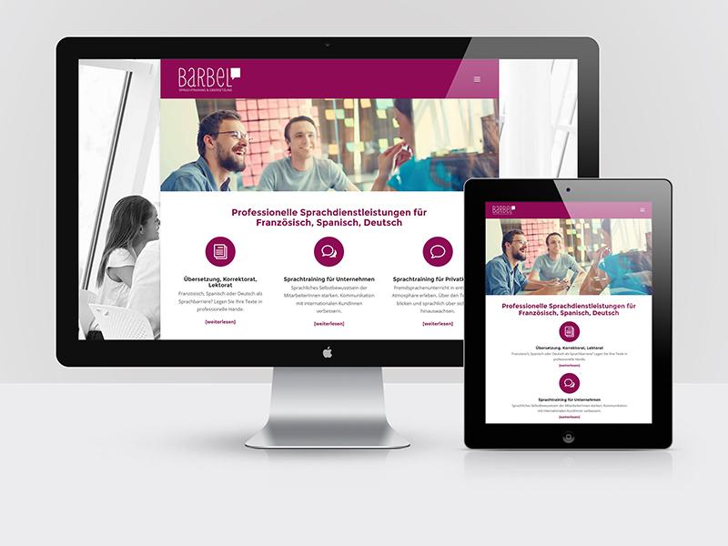Webdesign und Programmierung für die Website von BARBEL Sprachtraining