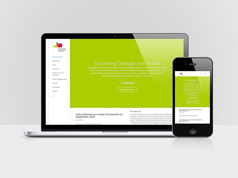 Webdesign für das ERG und ORG Donaustadt, 1220 Wien
