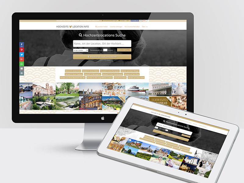 Webdesign für die Plattformen hochzeits-location.info, hochzeits-band.info, hochzeits-fotograf.info, hochzeits-auto.info, ...