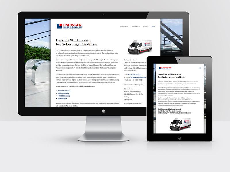 Webdesign für das Isolierungsunternehmen ISOLIERUNGEN LINDINGER aus Anthering bei Salzburg.