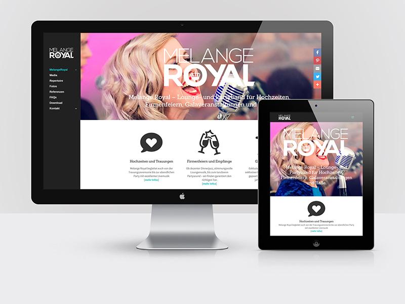 Webdesign der Hochzeitsband und Partyband MELANGEROYAL (melangeroyal.at)