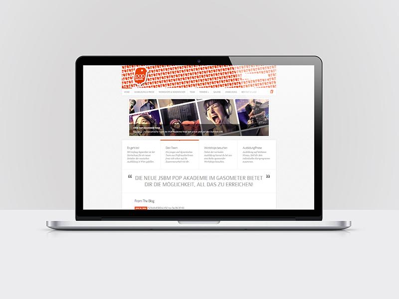Webdesign für die POPAKADEMIE WIEN / popak.at