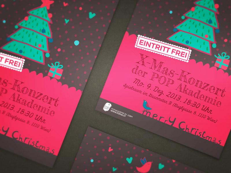 Grafikdesign für Plakate und Flyer für das Weihnachtskonzert der POPAK WIEN.