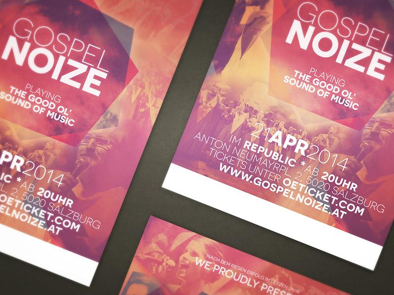 Grafikdesign für einen Werbeflyer und Plakate des gospelnoize Konzert in Salzburg