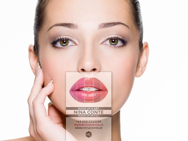 Gestaltung einer transparenten Visitenkarte für die Visagistin Nina Conte