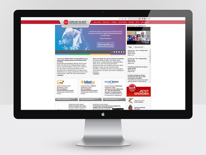 Webdesign für Kirche in Not - www.kircheinnot.at