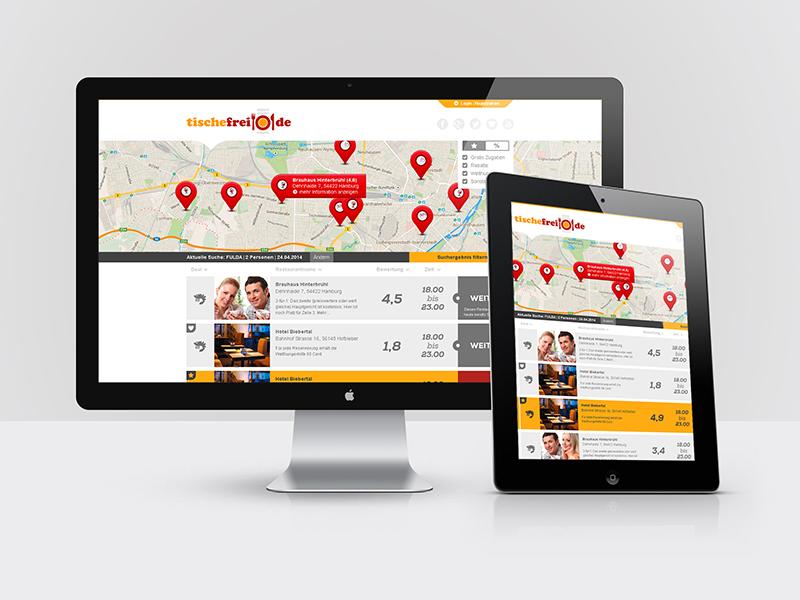 Webdesign für das Restaurantportal: tischefrei.de