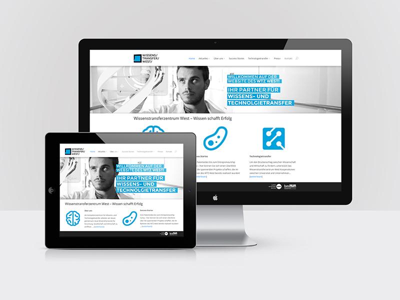 Webdesign WTZ-West (Wissenstransferzentrum West der Universität Salzburg)